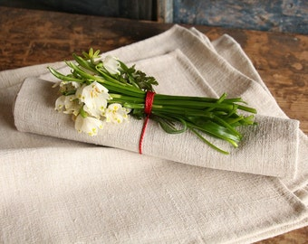 T 1 handsewn set of 8 NAPKIN TOWEL wedding gift antique lin