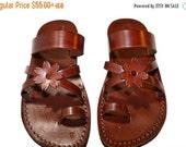 20% OFF Brown Flower-Cross Leather Sandals for Men & Women