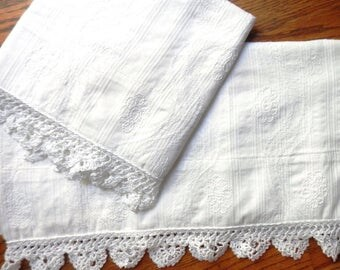 White Cotton Pillowcases, Pre-embroidered Floral Design, Hand-Crocheted Lace