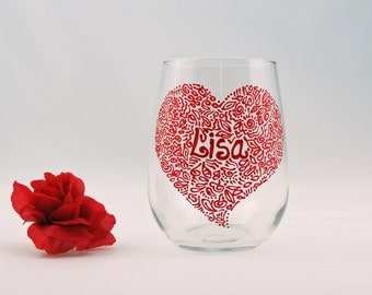 Personalized Valentine wine glass - Hand painted stemless wine glass - Sweetheart Collection