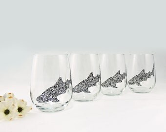 Whale shark glasses - Hand painted stemless white wine glasses - Set of 4