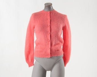 Vintage 1950s Mohair Sweater, Coral Pink Wool Knit Cardigan, Mid Century Fashion, 50s Women's Clothing, Sweaters, Cardigans