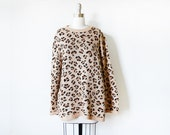 leopard print sweater, vintage animal print tunic, 80s oversized sweater