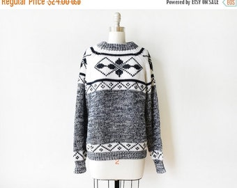 50% OFF SALE vintage snowflake sweater,  80s black and white sweater, chunky ski sweater