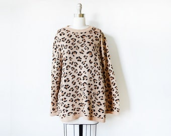 leopard print sweater, vintage animal print tunic, 80s oversized sweater