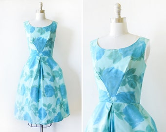 50s floral dress, chiffon floral dress, small 1950s party dress
