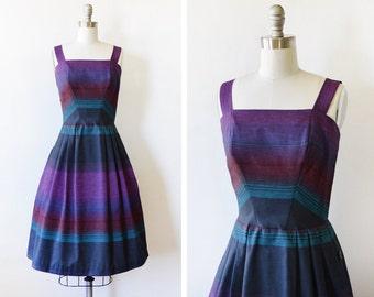 vintage 60s striped sundress, 1960s dress, small striped dress
