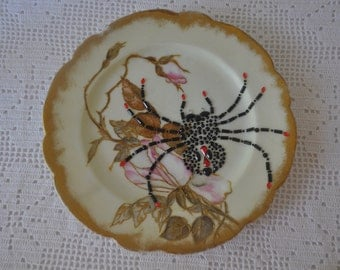 Spider And Rose Decorative Plate/Vintage 1950s/Up cycled Hand Painted Porcelain Plate