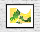 Green Bay Wisconsin Art Map Print.  Other Colors and Sizes Available.  Perfect for your Green Bay Packers Cheesehead.