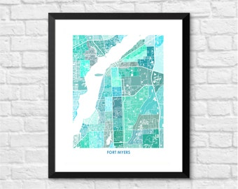 Ft Myers Florida Art Map Print.  Color Options and Size Options Available.  Map of Ft Myers.