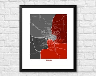 Pullman Map Print.  Choose your Colors and Size.  Washington State University Cougars Art.