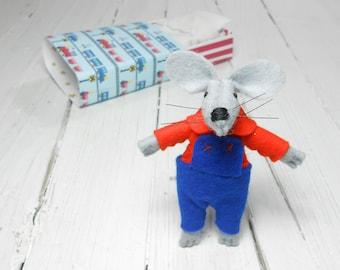 Felt animals felt mouse hand made dolls small wool matchbox mouse felt doll pre teen gift Kids gift daughter blue