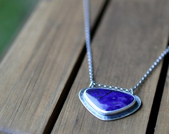 Sterling Silver Sugilite Necklace, Oxidised, Sterling Silver Gemstone Necklace, Purple Sugilite Pendant