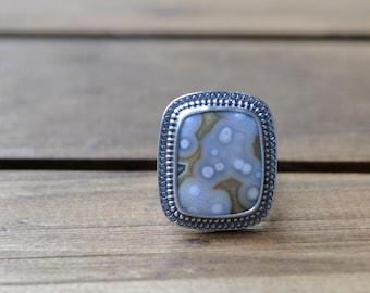 Sterling Silver Ocean Jasper Ring, Oxidised Metalwork Ring, Statement Gemstone Ring - Marrakech Ring in Ocean