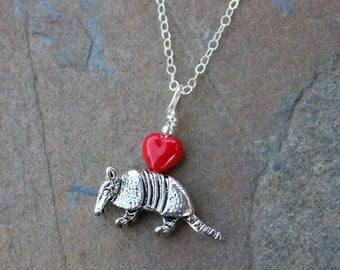 "Armadillo necklace - antiqued silver animal pendant & red heart, sterling silver chain - free shipping USA- 14"" to 26"" chains available"
