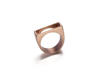 Reclaimed bronze geometric ring