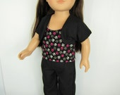 "18"" Doll Clothes, Doll shoes pants top and shrug, black doll pants, black doll shrug, black pink and white, paw handmade 18"" Doll Clothing"