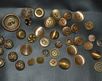 42 Metal Brass Colored Buttons