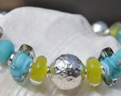 Reserve for Patrice-REFLECTIVE-Handmade Lampwork and Sterling Silver Bracelet