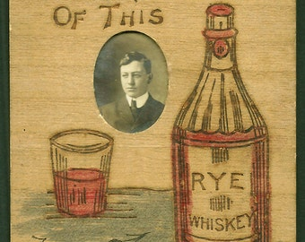 Pyrography Postcard - Photo Insert - Rye Whiskey - Handtinted - 1906 - Hard To Find
