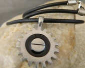 Mechanical Gear Pewter Men's Cord Necklace