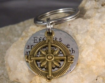 Efforts and Courage are Not Enough Without Purpose and Direction Bronze Compass Keychain