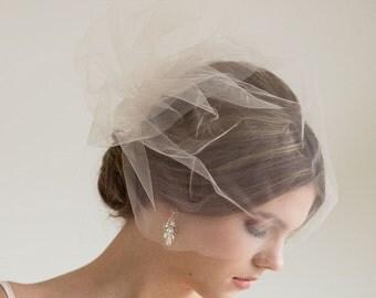 "Two Layer Birdcage Veil, Wedding Veil, Illusion Birdcage Veil, Double Short Veil, 18"" Visor Veil"