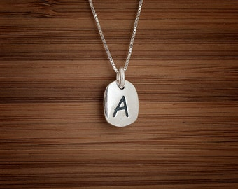Alphabet A to Z, Letter, Initial Charm - STERLING SILVER - (Charm, Necklace, or Earrings)