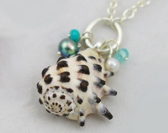 Hawaiian Charm Necklace with Spider Drupe Shell (Pearls, Turquoise, Blue Apatite) in Sterling Silver