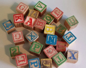 On Sale Salvage ~ Wooden Blocks ~  Assorted Alphabet & Numbers ~ 'As Is' Condition ~ 25 Pieces