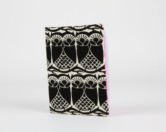 Fabric card holder - Hoos there / Lovely owls / Black and white / pink / Cotton and Steel