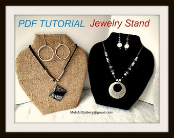 Jewelry Stand, Vendor Display, Jewelry board, jewelry bust, Jewelry tree, Craft Show Prop, Necklace and earrings stand, diy pdf tutorial,