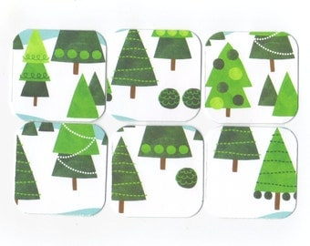 SALE Christmas Mini Note Cards (set of 6) CMN10 / Ready To Ship