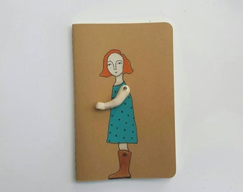 Moleskine Cahier Journal girl in teal and cowboy boots - ruled
