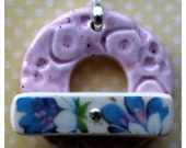 Pink Speckles with Blue Flowers Bar - Large Ceramic Circle Focal Toggle Clasp