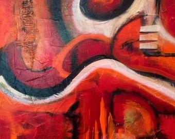 Original Abrstract Acrylic Painting  12 x 12 x 3/4Deep   - By Maite