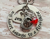 Custom hand stamped, Personalized, JBK, My Heart Belongs to a Firefighter necklace