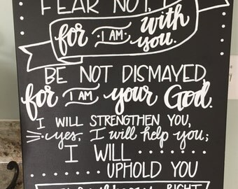 Isaiah 41:10 Canvas--Chalkboard Style, Handlettered
