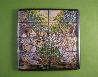 """Louis Comfort Tiffany's """"Two Angels"""" Stained Glass Window Square Decoupage Glass Tile Paperweight"""