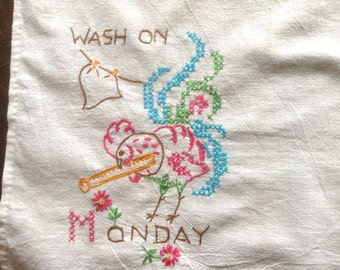 Vintage Embroidered Tea Towel, Wash on Monday, Pink Rooster with large clothes pin, laundry on line, tablecloth, apron