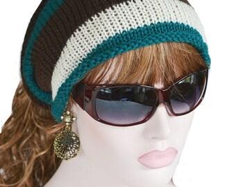 Dreadlock Tube Hat, Falls, Head Sock, Earwarmer, Winter Accessory, Dreads, Teal, Cream, Brown Tube Hat
