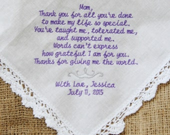 Mom Thanks for all You've Done Embroidered Wedding Lace Handkerchief Gift to Mom