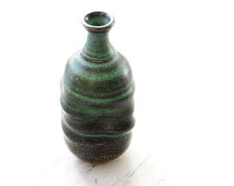 Wheel Thrown Stoneware Green and Black Vase