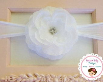 New Item---Boutique Baby Girl NYLON Headband with Rhinestone Rose Flower Clip---White on White---BELLA COLLECTION