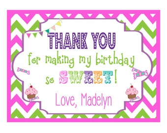 Thank You Card Kids | Candy Shoppe | Sweet Shoppe | Note Card | Invitation | Custom Personalized Fold Over Note Cards Set of 12