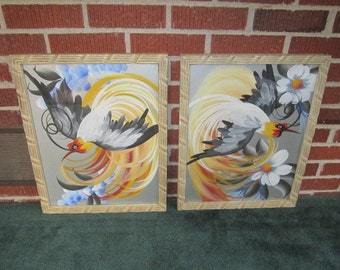 Vintage 1940s/50s Pair of Framed Original Folk Art Paintings of Fabulous Feathered Birds