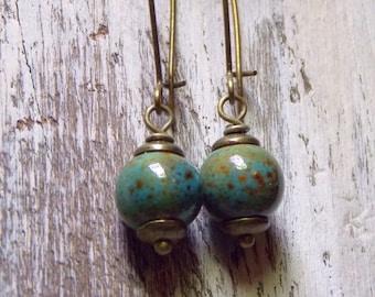 Green Ceramic Earrings Ceramic Robins Egg Brass Earrings Boho Earrings Bohemian Earrings Dangle Drop Earrings Rustic Jewelry
