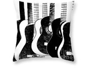 Black And White Guitar Art Pillow, Music Home Decor, Throw Pillow, Decorative Art, Musician Gift, Stringed Instrument, Teenager Room Decor