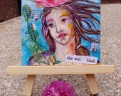 She Was Kind, Original Mixed Media Mini Painting, Home Decor