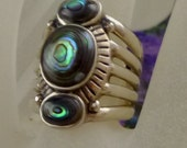 Sterling Silver Abalone Shell Ring, Size 7 - Free U.S. Shipping